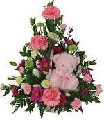 Basket arrangement + Small Teddy