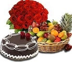 Roses + Cake + Fruits Gift hamper