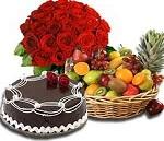 Roses + Cake + Fruits Gift hamper